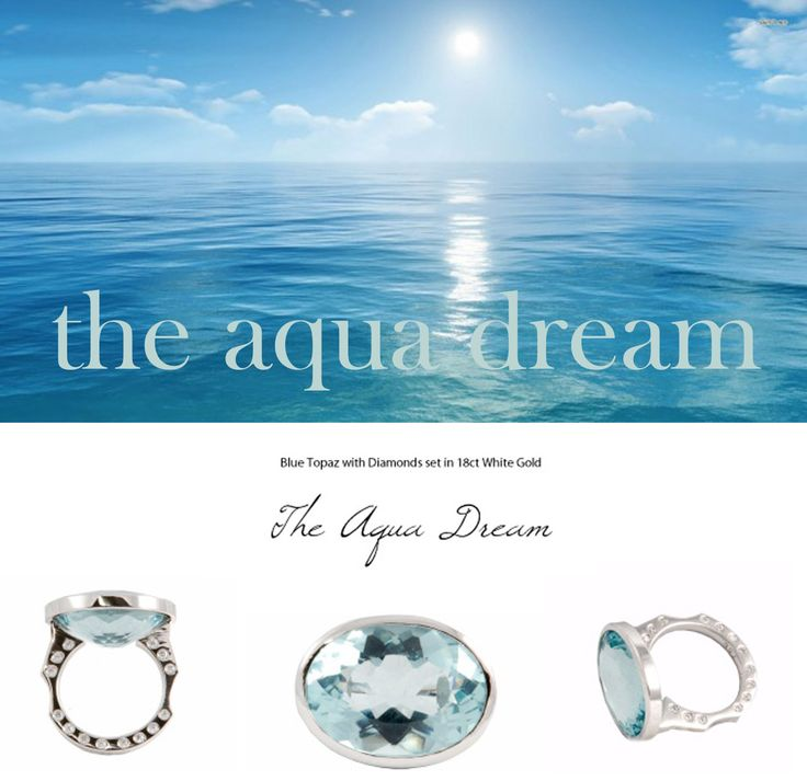 The Aqua Dream - Blue Topaz with Diamonds set in 18K White Gold