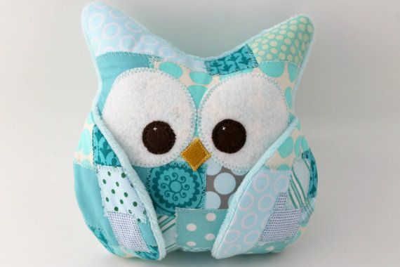 Plush Owl Pillow - patched owl- turquoise fabric