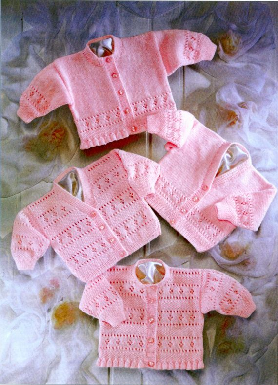 girls /baby cardigans 4 ply knitting pattern by Heritageknitting1