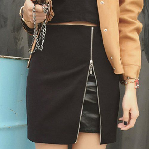 Simple High Waist Skinny Zipper Design Faux Fur Skirt For Women