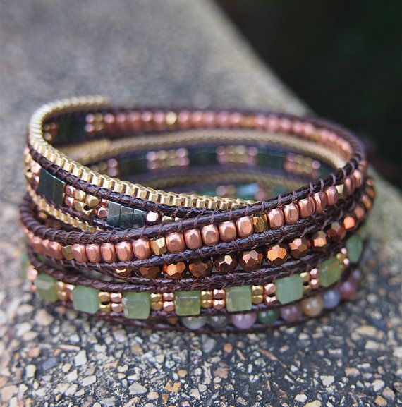 5 times wrap bracelet is made with Crystal, Jade, nugget beaded on brown cord. ✧ Length : 82cm with adjustable. ✧ Closure : Button ✧ Fits a 6 to 7 inch wrist wrapped 5 times. .  PLEASE NOTE : The handcrafted nature of this product will produce minor differences in design, sizing and weight. Variations will occur from piece to piece, measurements may vary slightly  ✦SHIPPING✦ Your order will shipped 2 or 4 business days after payment has been received. And takes about 10 - 25 business days to…