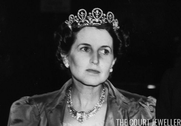 Rose Fitzgerald Kennedy, wife of the American Ambassador Joseph Kennedy, wears a diamond floral loop tiara borrowed from the Countess of Bessborough for a dinner at the French embassy in London, March 1939