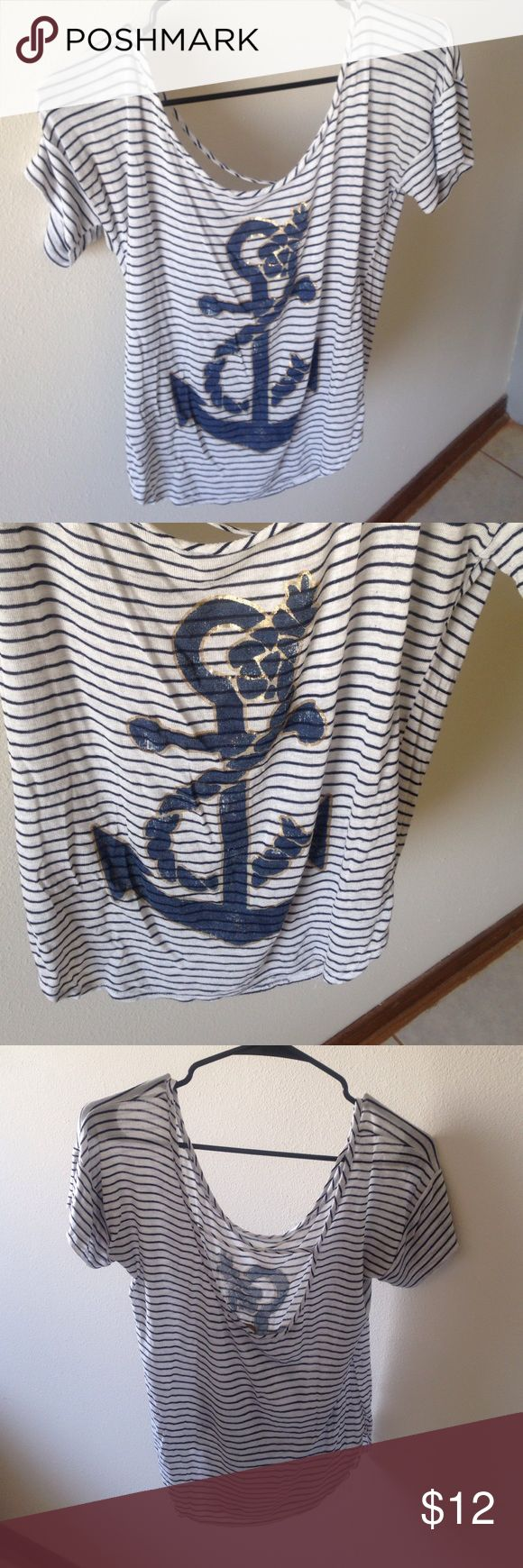 Nautical navy and striped slouchy tee. Low back Navy and white stripes with gold foil. Low back with crisscross detail Tops Tees - Short Sleeve