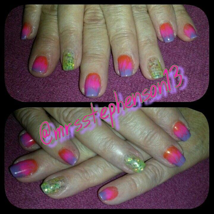 Bright neon GEL POLISH marbling.  Neon glitter green gel polish. #pink #orange #neon #green #summernails #neonnails #centraloregon #oregon #nails #nailart done by @Michelle Stephenson on IG. WWW.FACEBOOK.COM/MRSSTEPHENSON13