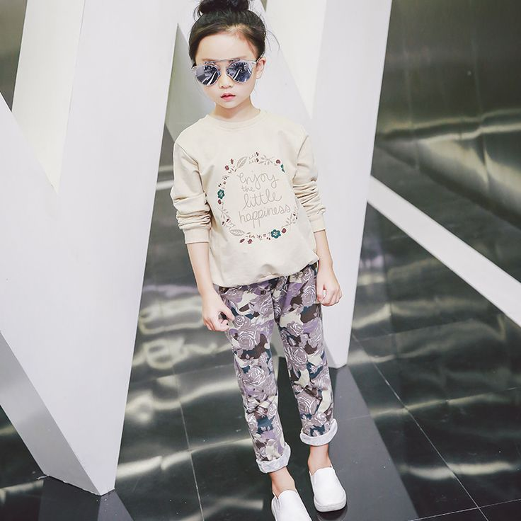 ==> [Free Shipping] Buy Best Girls Floral Printing Suits 2017 New Fashion Brand Sport Clothing Set SweatshirtsLoose trousers Pants Kids Hip Hop Clothes Online with LOWEST Price | 32796007844