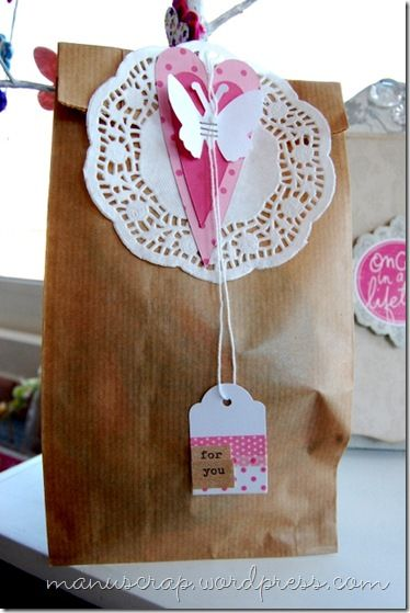 glassine/brown paper bag with doily and washi tag