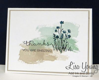 Stampin' Up! In the Meadow stamp set; Stampin' Up! Work of Art stamp set. Clean and simple tank you card with deer. Handmade card by Lisa Young, Add Ink and Stamp