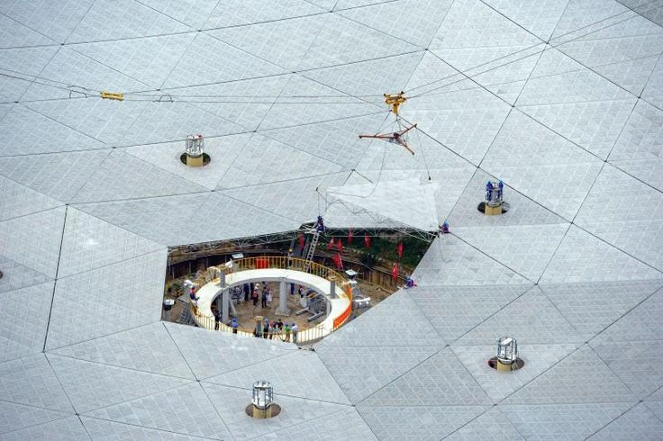 07/03/2016 - China on Sunday hoisted the final piece into position on what will be the world's largest radio telescope, which it will use to explore space and help in the hunt for extraterrestrial life, state media said.  The Five-hundred-meter Aperture Spherical Telescope, or FAST, is the size of 30 football fields and has been hewed out of a mountain in the poor southwestern province of Guizhou.