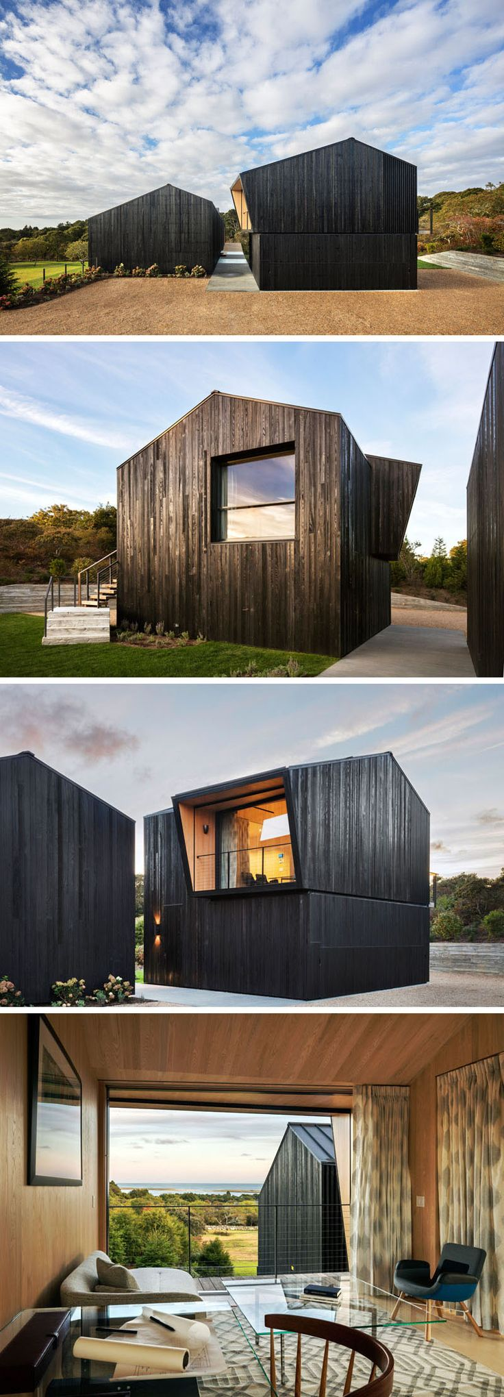 Shou Sugi Ban or blackened cedar wood siding, covers this modern house and separate garage. Upon arriving at the house, you see that the garage and the house are split, with a pathway between the two. A home office with views of the water sits above the garage and can be reached via a set of stairs on the exterior of the garage.