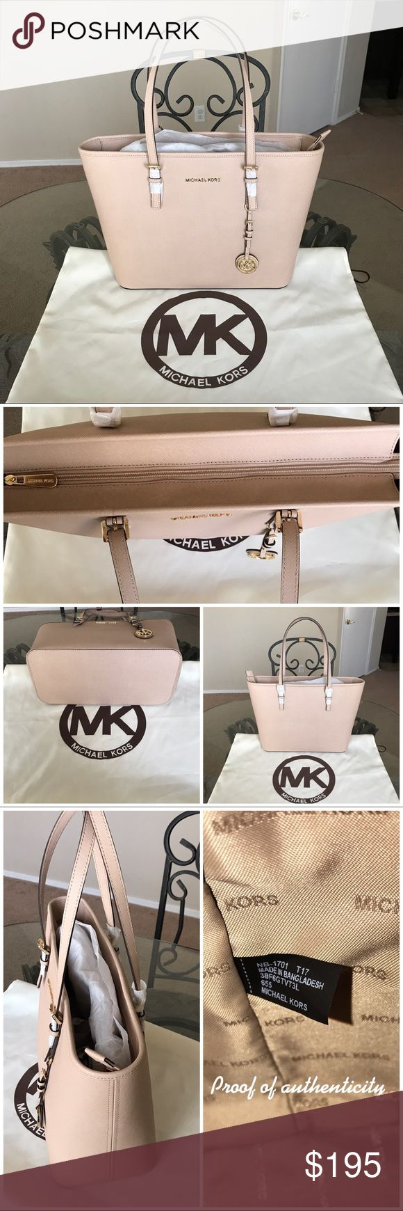 NWOT MK jet set tote Color is blush with gold hardware  Brand new! Tags fell off but as you can see in the photos, it's still in original wrapping  Measures approx: 17x 10 1/2x 6  Comes with a Dustbag  No trades!  Open to reasonable offers but I will not discuss price in the comments. Please use the offer button! Michael Kors Bags Totes
