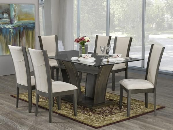 Ambrose Dining Table Set #www.craftmansfurniture.ca #furniture #furnituredesign #interiordesign #interiors #furnishing #couches #sofas #bedroomset #diningtable #rugs #coffeetables #canvas #endtables #accessories #accentchairs #canadianmade #solidwood #barstools #mirrors #heartlandtowncentre #handmade #mississauga #contemporaryart #bedroomdecor #homedecor #modernfurniture