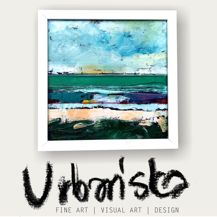 abstract landscape oil painting + artistic textile!Series 25x25cm 11/25 /Obraz olejny abstrakcyjny pejzaż + tkanina artystyczna! Cykl 16/25 by KarolinaBUrbanska on Etsy