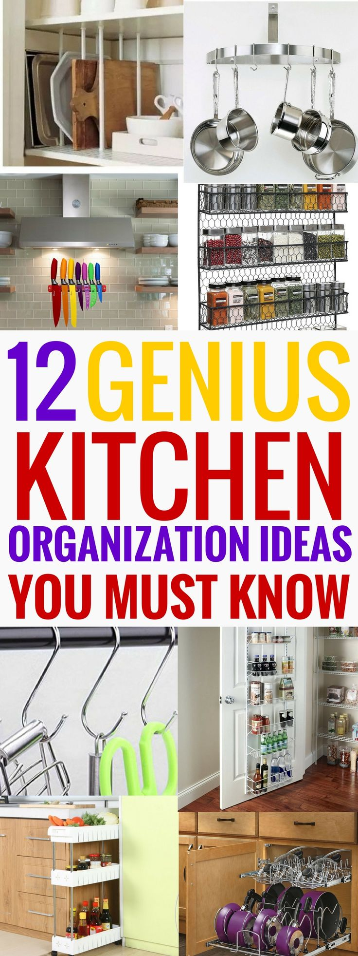 These kitchen organization ideas are THE BEST! I'm so glad I found these great organization ideas now I can declutter my kitchen and keep everything in order and easily accessible! Definitely pinning this! #organization