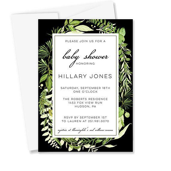 Greenery Baby Shower Invitation Gender Neutral Baby Shower