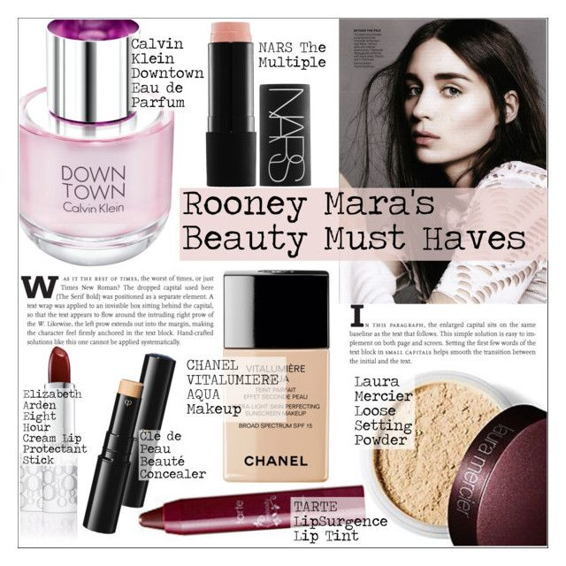"""""""Rooney Mara's Beauty Must Haves"""" by martso ❤ liked on Polyvore featuring beauty, Calvin Klein, Laura Mercier, Chanel, NARS Cosmetics, Elizabeth Arden, Clé de Peau Beauté, MustHave, Beauty and inspiration"""