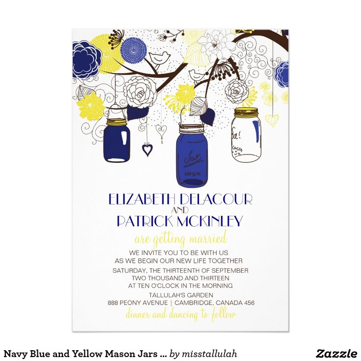 Navy Blue and Yellow Mason Jars Wedding Invitation