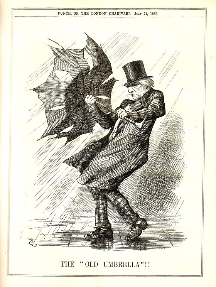 heaveninawildflower:  'The Old Umbrella' ( 1886) an illustration from Punch magazine. I often wonder if J.W. Waterhouse once saw this illustration( 'Punch' was an incredibly popular magazine)andbased the figure in 'Windflowers' upon it. 'Windflowers' dates from 1903.