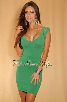 Kelly Green Bandage Dress $44.99 Hot Miami Styles