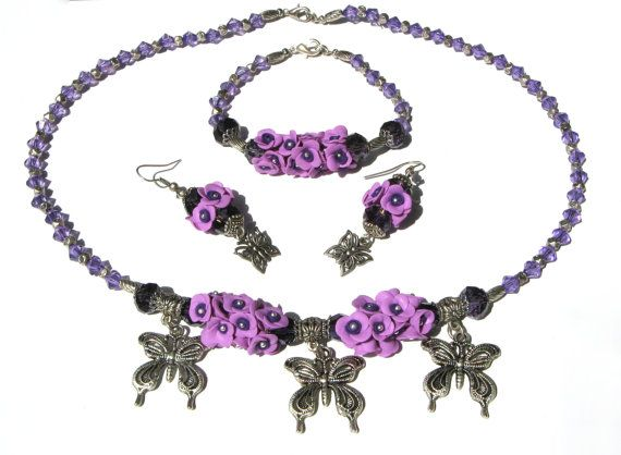 Polymer clay jewelry set - Necklace with small flowers and butterflies - Floral earrnings - Floral bracelet - Floral set - Bib necklace