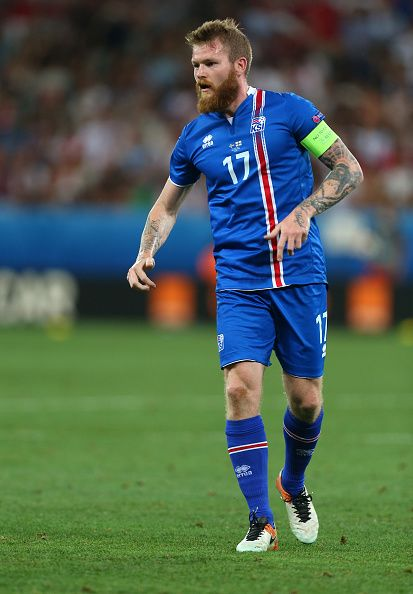 #EURO2016 Aron Gunnarsson of Iceland during the UEFA EURO 2016 Round of 16 match between England and Iceland at Allianz Riviera Stadium on June 27 2016 in Nice...