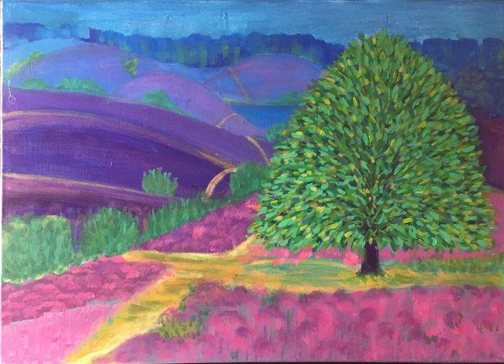 Acrylverf op doek, landschap à la David Hockney; Veluwe