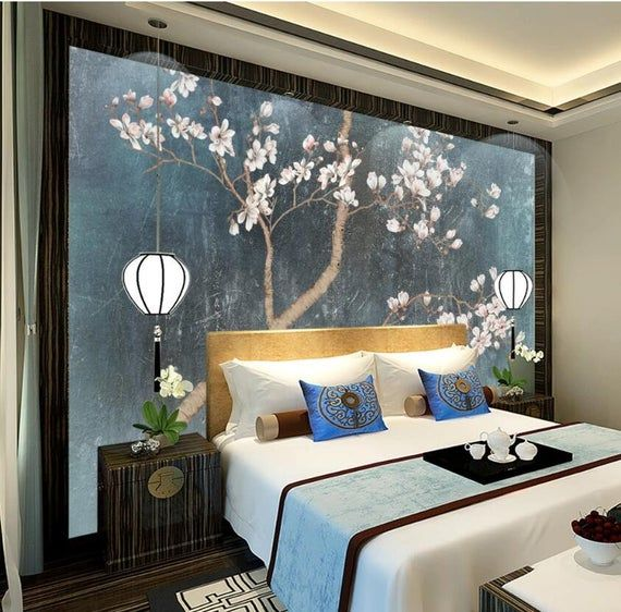 3d Flowers Painting Gn1096 Wallpaper Mural Decal Mural Photo Etsy In 2021 Asian Bedroom Decor Japanese Bedroom Decor Asian Inspired Decor Bedroom background wall decal