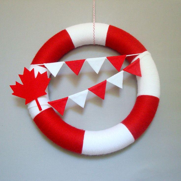 Canada Day Yarn Wreath Red, White, Maple Leaf, Bunting Flags. Patriotic Wreath, Decor. Summer Decor. Canadian Veteran Gift.
