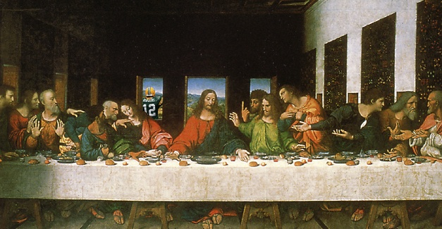 Aaron Rodgers photobombing the Last Supper