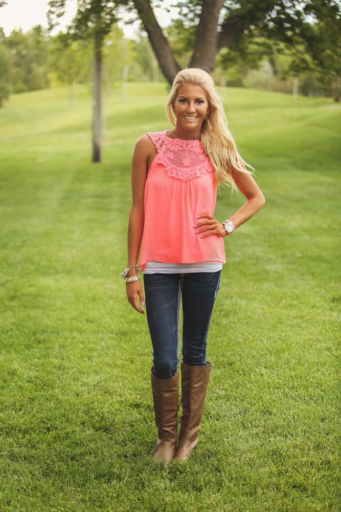 Modern vintage boutique coral top modern country clothes outfits