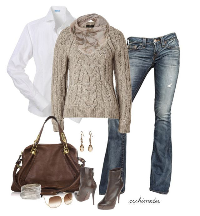 """""""Autumn Weekend"""" by archimedes16 ❤ liked on Polyvore featuring True Religion, Belstaff, Chloé, Barbara Bui, Miss Selfridge, M.Flynn, BaubleBar, ankle boots, bootcut jeans and top handle bags"""