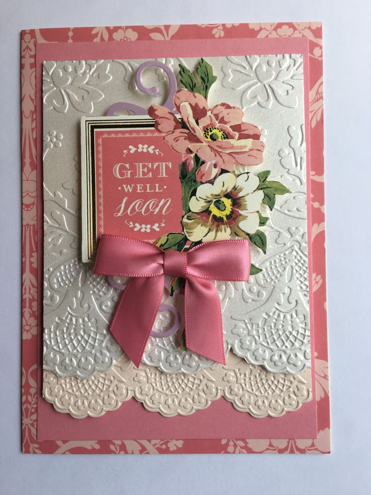 Get well card for Bonnie. Vintage collage topper from first set and medium pink bow on card made at AG Create class