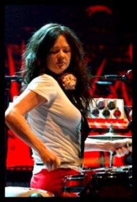 Big boobed Meg White-drummer of The White Stripes