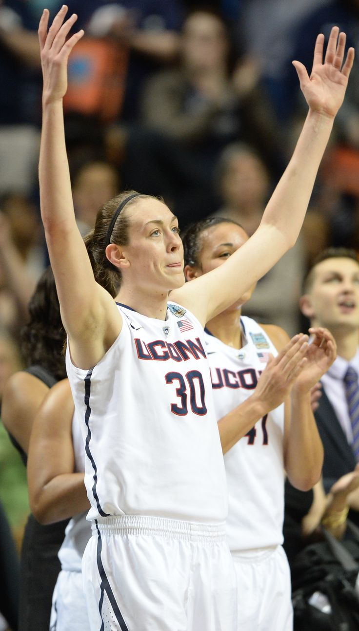 Connecticut women's basketball forward Breanna Stewart shows off her leaping ability with this high-flying dunk off of two feet.