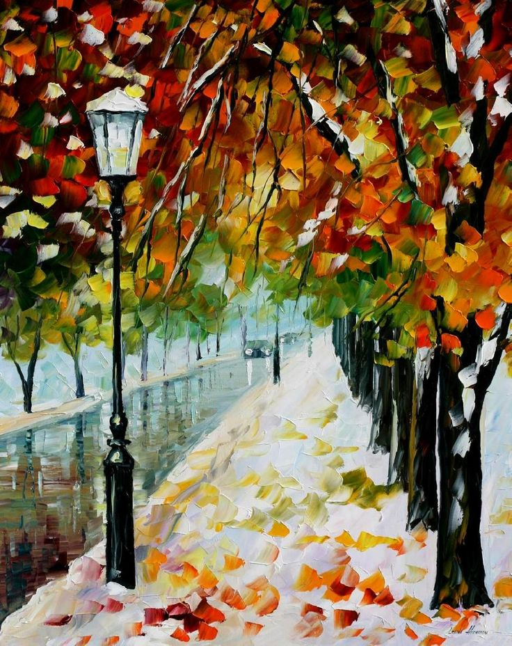 """BEGINING OF WINTER — PALETTE KNIFE Oil Painting On Canvas By Leonid Afremov - Size 30""""X24"""""""