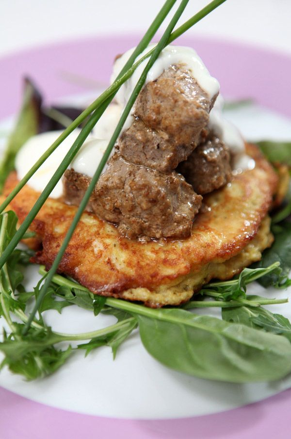 LAMB TIKKA WITH CURRIED CAULIFLOWER PANCAKES  Created by Simon Rimmer especially for the One Brand.