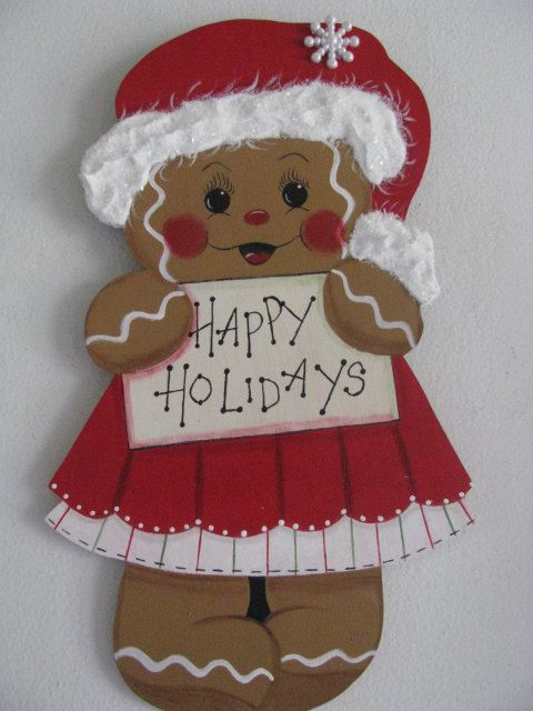 This little ginger girl is wishing you happy holidays. If you want anything else written on, can be done. Cut from 1/4 birch plywood and measures 10 1/2