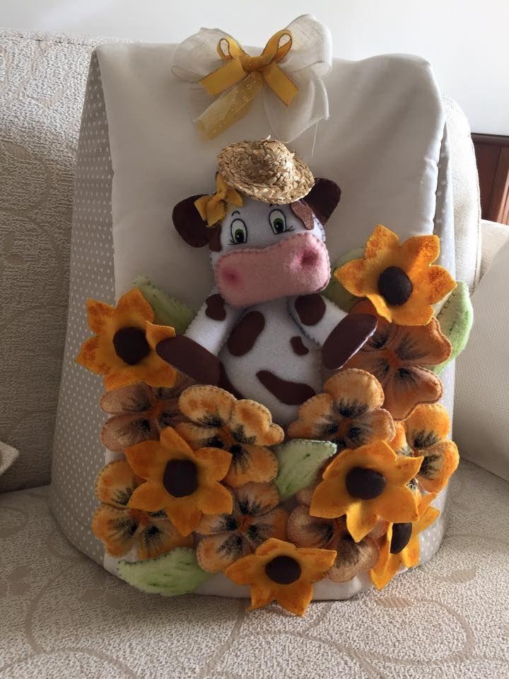 Copribimby con mucca e girasoli  copribimby decorato #copribimby #pannolenci #mucca