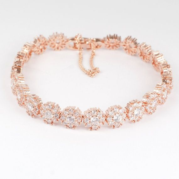 Rose Gold Diamante Bracelet via Etsy