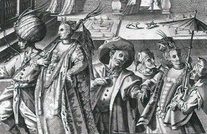 Venetian carnival scene showing revelers in different styles of masks, 1595, by Pieter de Jode the Elder. Printed in Private Lives in Renaissance Venice by Patricia Fortini Brown.  Zimarra.
