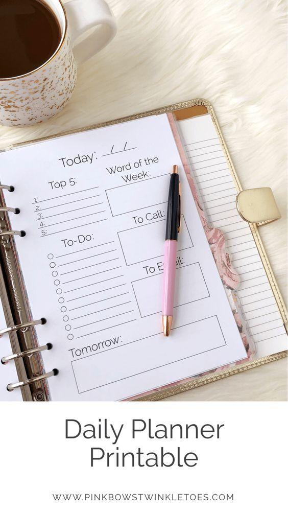 Daily Calendar Printable Classic Planner Insert Planners - Daily Calendar Printable