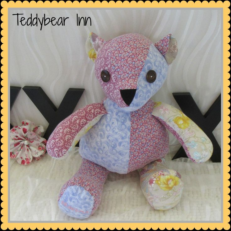 Memory Bear made from the handmade dresses and shirts of a very loved and missed grandmother.