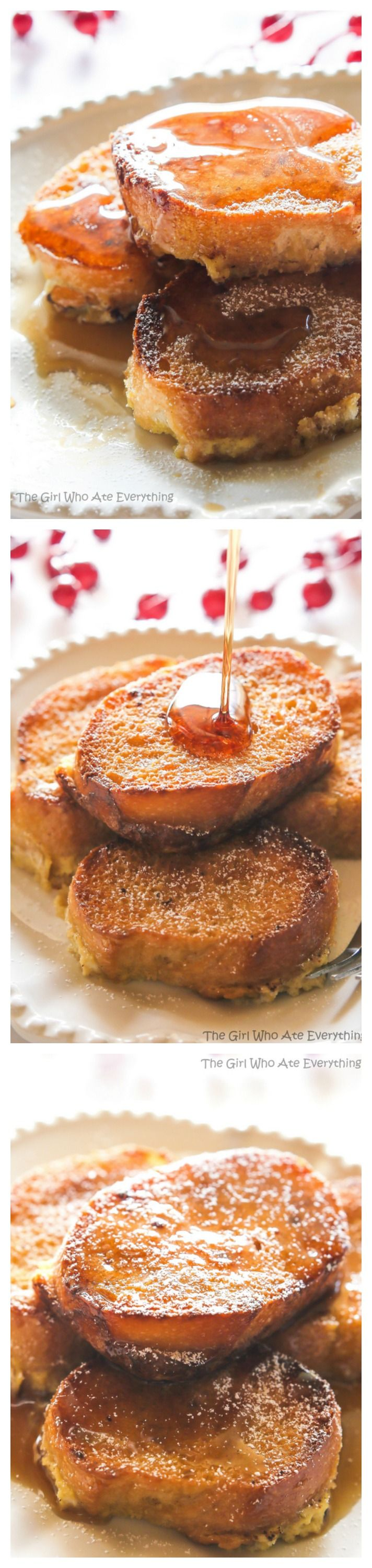 This Eggnog French Toast is bread soaked in an eggnog mixture and then baked in the morning. Festive and perfect for busy mornings like Christmas. the-girl-who-ate-everything.com