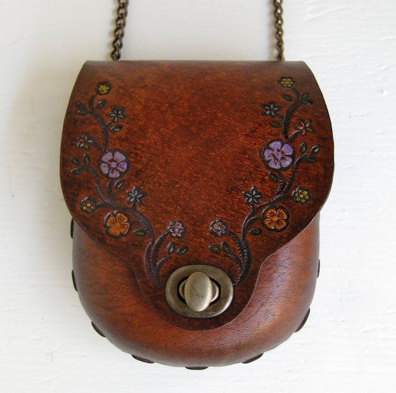 Tan Bag Small Tooled Lilac Orange Flowers Molded Leather Antique Brass Chain strap Karen Kell Collection