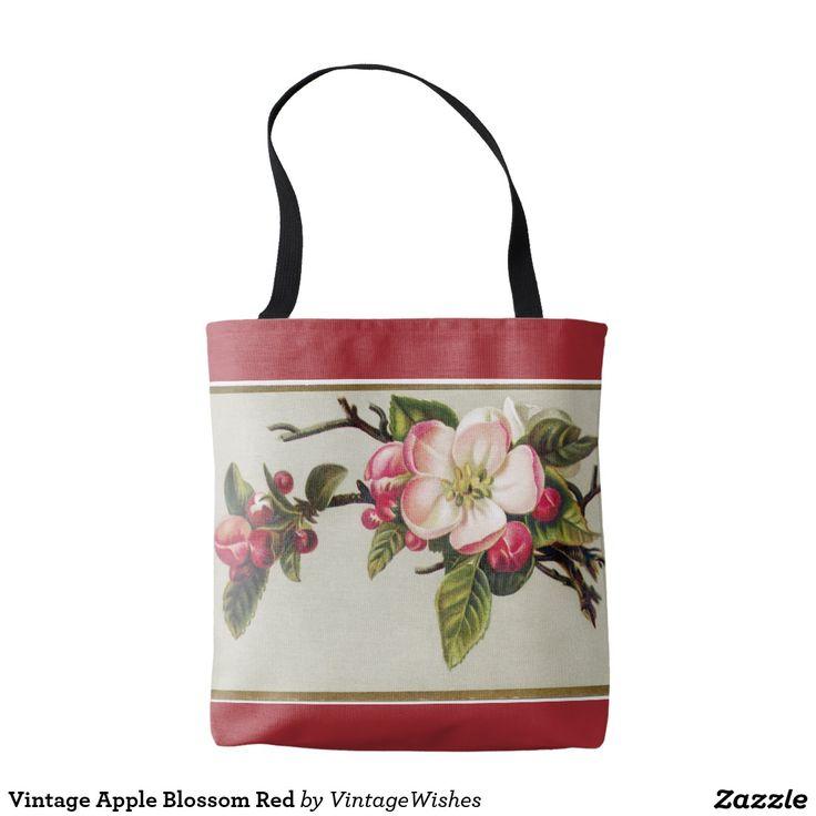 Vintage Apple Blossom Red Tote Bag