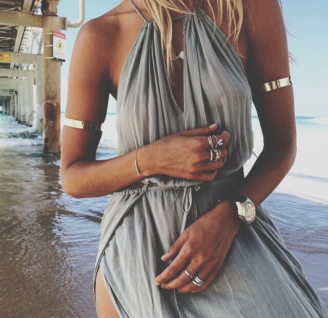 Love the scenery and dress with the arm jewelry [ AlbertoFermaniUSA.com ] #summer #fashion #style