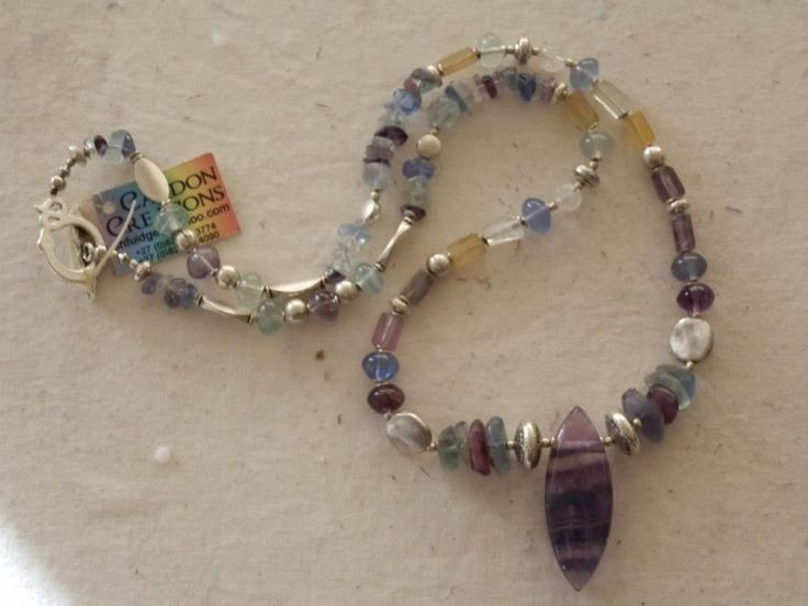 CANDON CREATIONS - This fluorite necklace measures 58cm and sells for R220