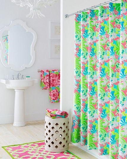 Lilly Pulitzer Bathroom - Garnet Hill in either Let's Cha Cha Turquoise, First Impression Hotty Pink, or Checking in Blue