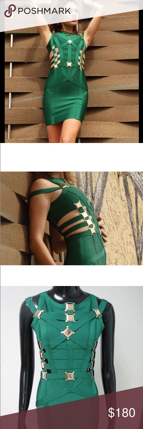 Green embellished bandage dress Our new 'Hester' Green & Gold Metal Cut out bandage dress is super sexy. The high neck, waist cut out sleeveless fit looks amazing on all figures whilst the gold metal squares add a touch of celebrity luxury. Wear with sky high heels and keep the jewelry simple for a red carpet look. Please note; you will stop traffic in this dress. Length: Approx. 33 Inches Fabric: 90% Rayon + 9% Nylon + 1% Spandex Herve Leger Dresses Mini