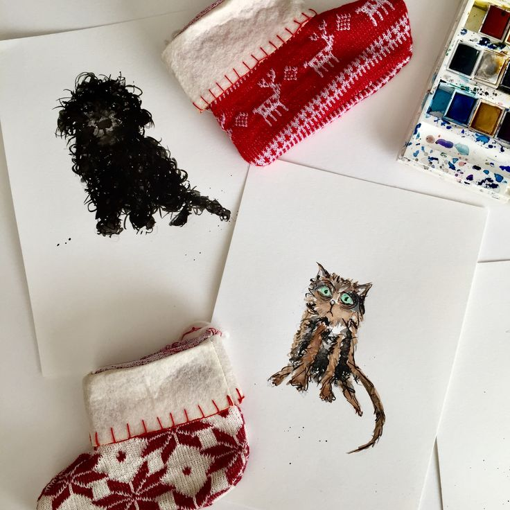Christmas Creatures #art #christmas #ink #petportrait #lovecats #lovedogs