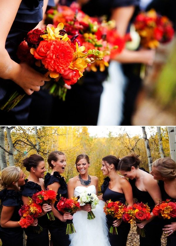 Fall Wedding... I normally don't like black dresses for bridesmaids but I actually love theses!! - Brittany